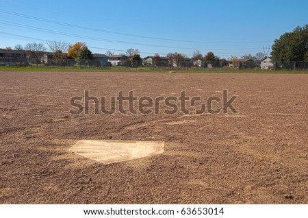 Home plate looking out onto a baseball field
