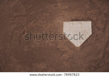 Home plate on a baseball field. Room for copy.