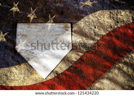 Home plate on baseball field with American Flag pattern - stock photo