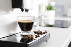 Home professional coffee machine with espresso cup. coffee machine espresso kitchen cup hot italian white concept