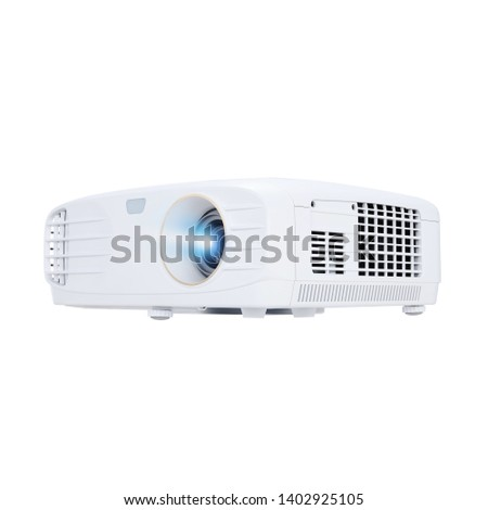 Home Projector Isolated on White Background. Front View of Compact and Stylish 4K UHD Video Home Cinema Theater Multimedia Desktop Data Projector 1800 Lumens for TV Movies and Mobile Gaming