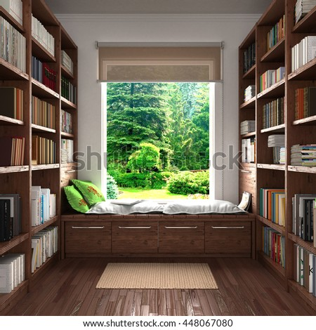 Home reading concept. Wooden shelves full of book in home library against the window and place for reading. 3d illustration