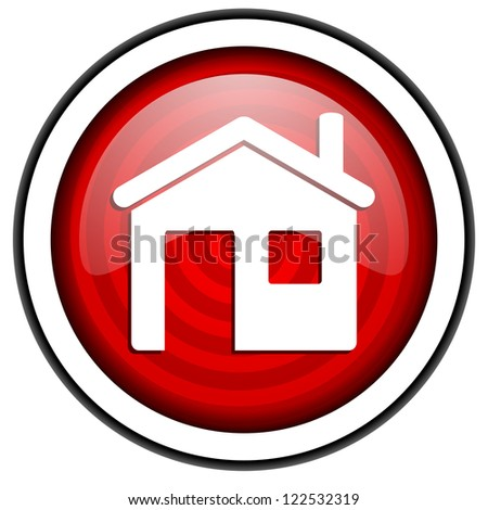 home red glossy icon isolated on white background