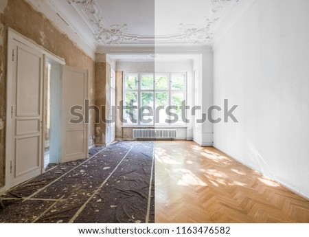 home renovation concept - apartment room before and after restoration or refurbishment - Photo stock ©
