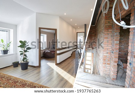 Home renovation concept. Before and after interior in modern style