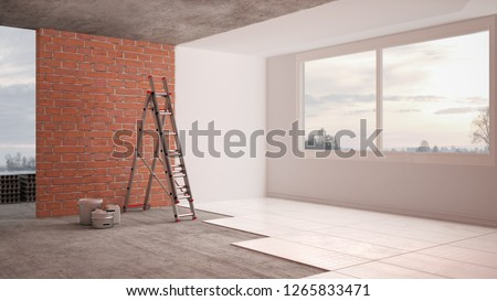 Home renovation, restructuring process, repair, wall painting, new house construction concept. Brick and painted walls, floor, walls laying and covering, architecture interior design, 3d illustration