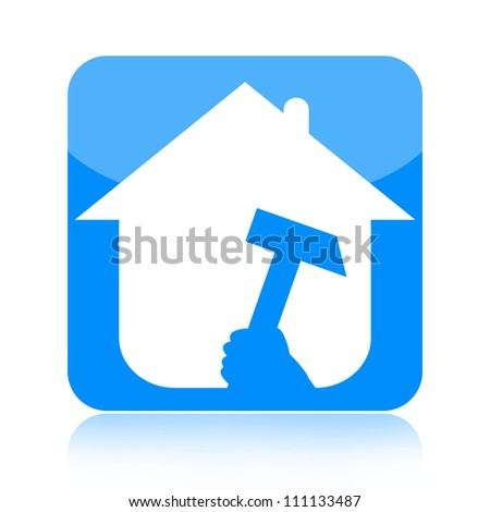 Home renovations icon with house and hammer isolated on white background - stock photo