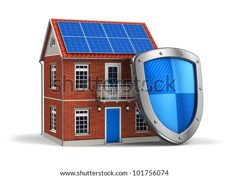 Home security concept: residential house covered by protection shield isolated on white background