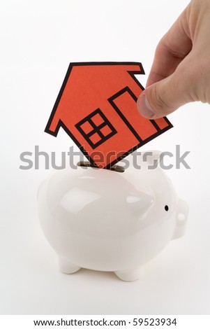 home sign and piggy bank , Real Estate Concept