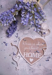 home sweet home concept with spring flowers
