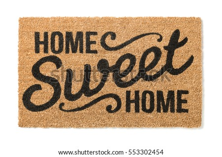 Home Sweet Home Welcome Mat Isolated on a White Background. #553302454