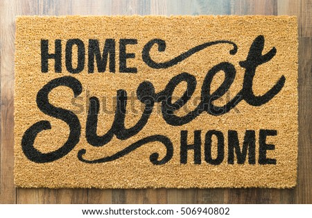 Home Sweet Home Welcome Mat On Wood Floor. #506940802