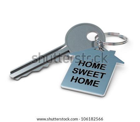 home sweet home written onto a metal keyring, home shape. metallic key over white background