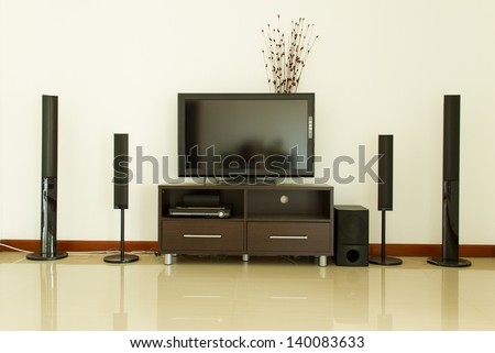 Home theater and white wall
