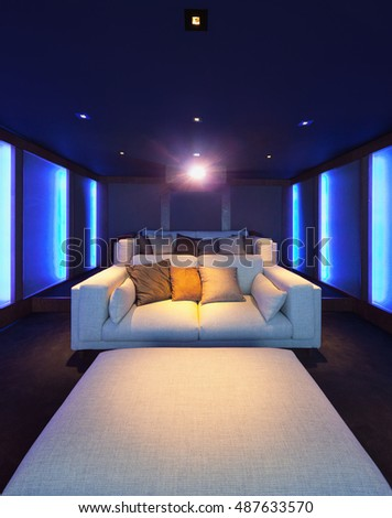 The interior of the home theater in a modern luxury home ...