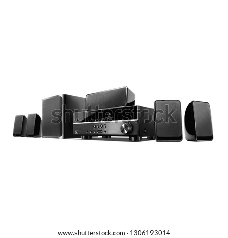 Home Theater Receiver and Speakers Isolated on White. Side View of Black Home Cinema Entertainment System. Data Surround Speakers. Acoustic Audio Stereo Sound System 5.1 Channel Output