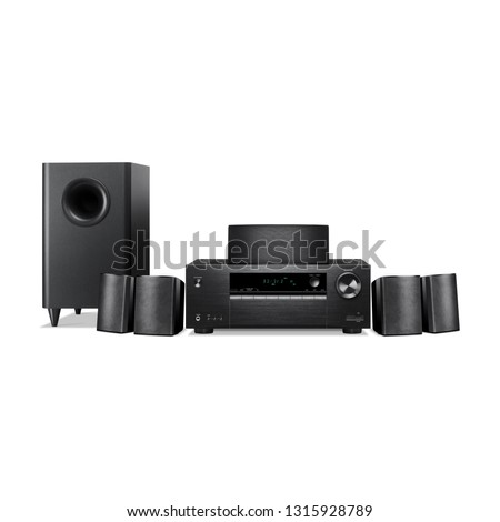 Home Theater System Isolated on White. Front View of Black Home Cinema Entertainment System. Data Surround Speakers. Acoustic Audio Stereo Sound System 5.1 Channel Output Receiver and Speakers