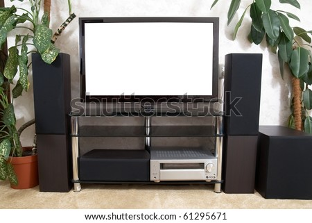 Home theater with plasma tv and hi-fi acustics