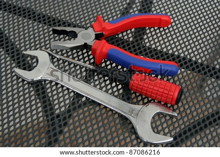 Home tools. Pliers, screwdriver and wrench home tools. Basic house tools.