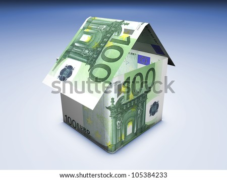 Home value concept. House shaped with euro banknotes on blue background.