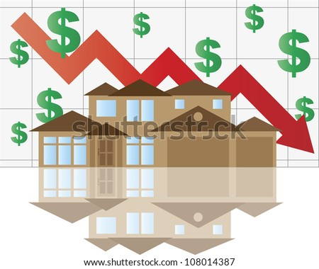 Home Value Falling Chart with House Arrow Dollar Signs Graph Raster Vector Illustration