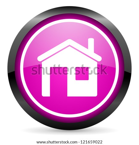 home violet glossy icon on white background