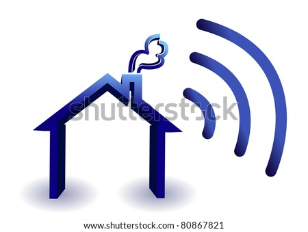 Home wireless connection illustration isolated over white