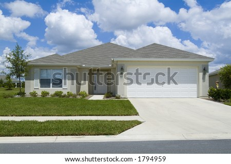Home with blue sky and clouds background 06