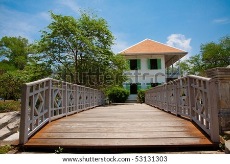 Home with wood bridge. #53131303