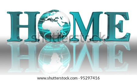 home word and blue earth globe with clipping path