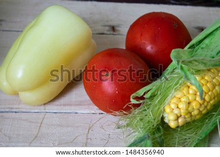 Homegrown vegetables. Fresh organic vegetables. Vegetables from the garden. Colorful vegetable. Healthy vegetable. Peppers, tomity, corn