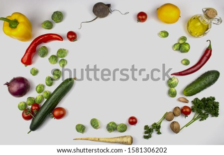 Homegrown vegetables. Fresh organic vegetables. Vegetables from the garden. Colorful vegetable. Healthy vegetable. isolate. copyspace. frame