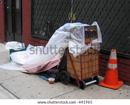 HOMELESS HANDMADE - stock photo
