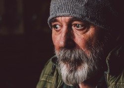 Homeless hobo portrait