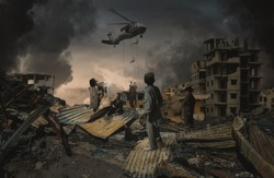 Homeless kids looking at military forces and helicopters top of destroyed city