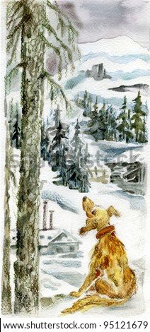 Homeless lonely dog sitting by fir tree against  northern winter landscape  with forests and snow covered hills.