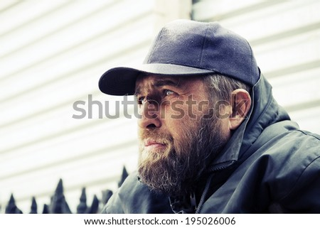 Stock Photo Homeless man in depression