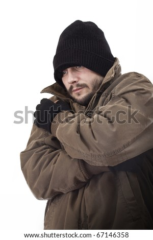 Homeless man, isolated in white