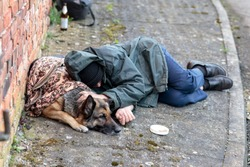homeless man with his dog