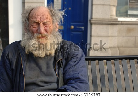 Homeless Old Man in Closeup