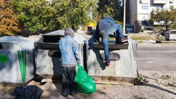 Homeless people seek food and valuables in a trash can. The disadvantaged louis carry a beggarly lifestyle. Sorting municipal waste. Violation of human rights and dignity. Tramps in the city.