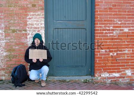 homeless woman on street