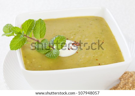 Homely split pea soup  with a dollop of yoghurt and mint.