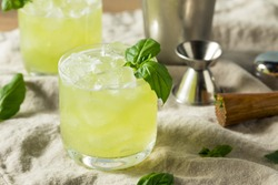 Homemade Alcoholic Gin Basil Smash with Lemon
