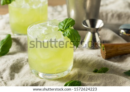 Photo of  Homemade Alcoholic Gin Basil Smash with Lemon