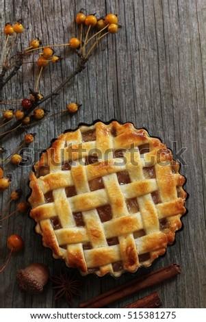 Homemade Apple pie  / Apple tart with lattice top overhead view #515381275