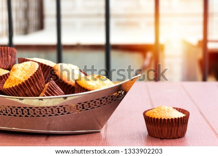 A cake in the shape of boats on plate Images and Stock