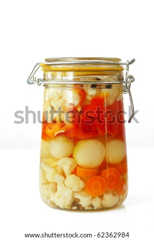 Homemade assorted vegetable pickles