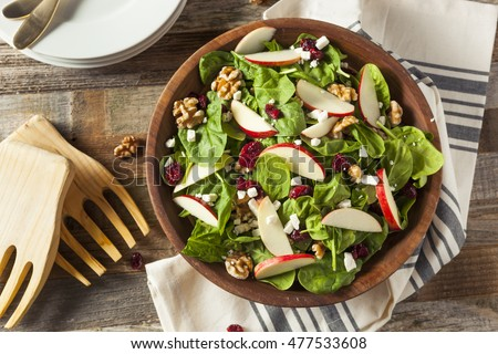 Homemade Autumn Apple Walnut Spinach Salad with Cheese and Cranberries #477533608