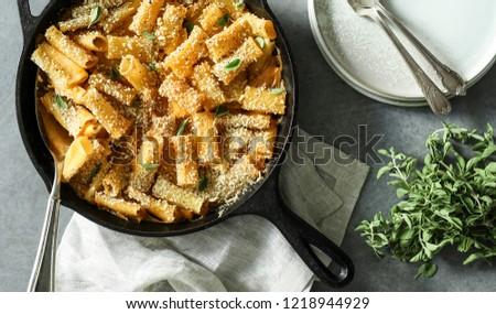 Homemade baked vegan Mac n Cheese #1218944929